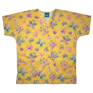 Women's XS Scrub Top Butterflies and Hearts
